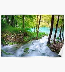 Plitvice Lakes, Croatia. Natural park with waterfalls and turquoise water Poster