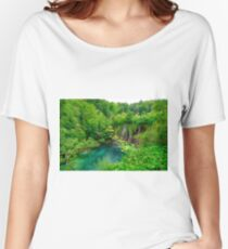 Plitvice Lakes, Croatia. Natural park with waterfalls and turquoise water Women's Relaxed Fit T-Shirt