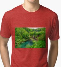 Plitvice Lakes, Croatia. Natural park with waterfalls and turquoise water Tri-blend T-Shirt