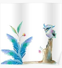 Watercolor Owl and Leaves Poster