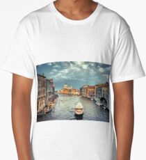 Gorgeous view of the Grand Canal and Basilica Santa Maria della Salute during sunset with interesting clouds, Venice, Italy Long T-Shirt
