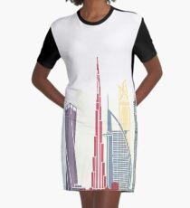 Dubai V2 skyline poster Graphic T-Shirt Dress