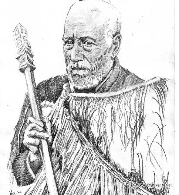 Maori Elder with spear by Alleycatsgarden