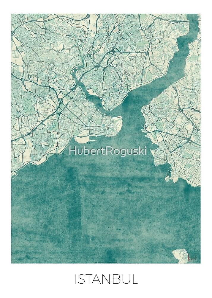 Istanbul Map Blue Vintage by HubertRoguski