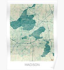 Madison Map Blue Vintage Poster