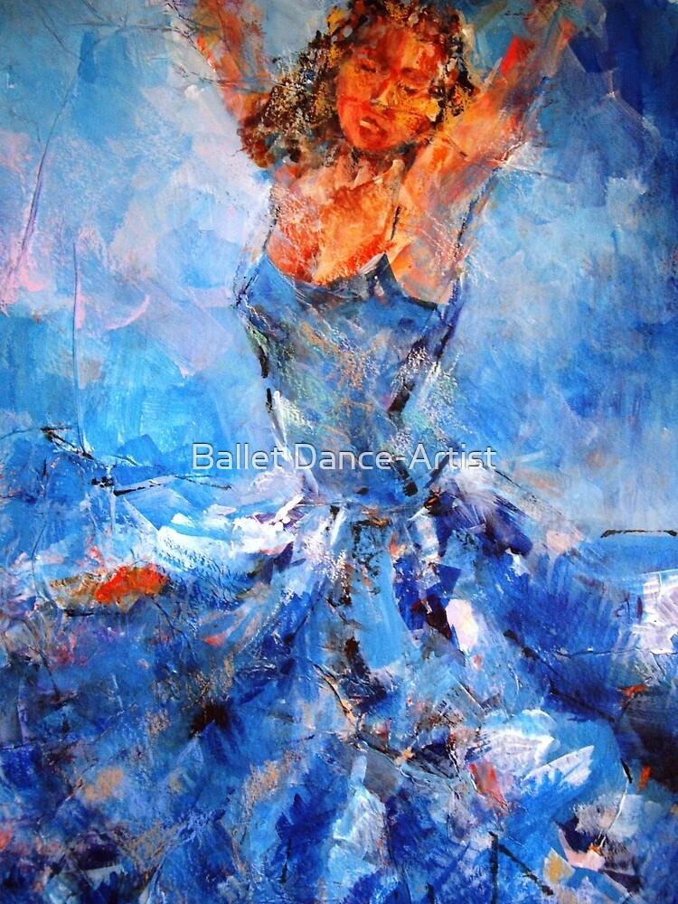 Passionate Dancer In Blue Dress – Art Prints by Ballet Dance-Artist