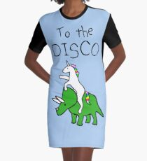 To The Disco (Unicorn Riding Triceratops) Graphic T-Shirt Dress