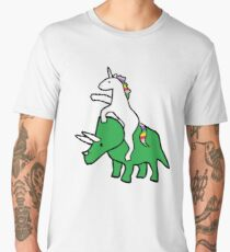 Unicorn Riding Triceratops Men's Premium T-Shirt