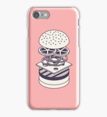 Burger Isometric Lineart Deconstructed - Salmon iPhone Case/Skin