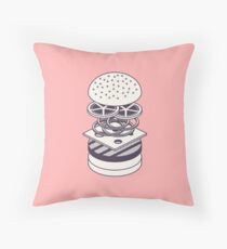 Burger Isometric Lineart Deconstructed - Salmon Throw Pillow