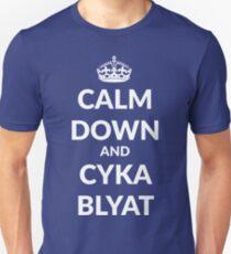 Calm down and suka blyat Unisex T-Shirt
