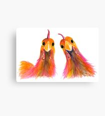 Happy Hens Chickens ' HARRIET & HUMBUG 2 ' by Shirley MacArthur Canvas Print
