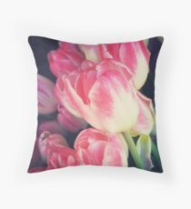 Dramatic Pink Tulips Throw Pillow