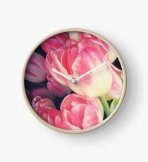 Dramatic Pink Tulips Clock
