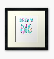 Tropical palm print Dream Big slogan Framed Print