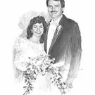 wedding couple drawing by Mike Theuer