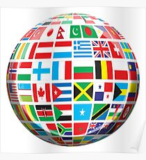 World, Flags of the Globe, Flags, Globe, Peace, Global Poster