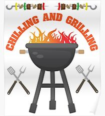 Chilling And Grilling BBQ Design Poster