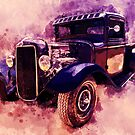 34 Ford Rat Rod Pickup Watercolour by ChasSinklier