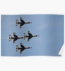 The U.S. Air Force Thunderbirds fly in formation. Poster