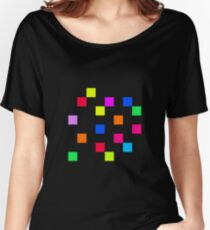 Coloured Squares - Black Women's Relaxed Fit T-Shirt