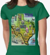 Texas Cartoon Map Womens Fitted T-Shirt