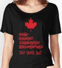 Canada Sesquicentennial (150 Years) - Red Text Women's Relaxed Fit T-Shirt
