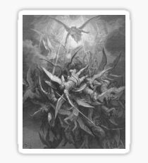 ANGELS & DEMONS, Gustave Dore, Him The Almighty Power Hurled Headlong Flaming From The Eternal Sky Sticker