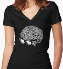 Brain with Glasses Women's Fitted V-Neck T-Shirt