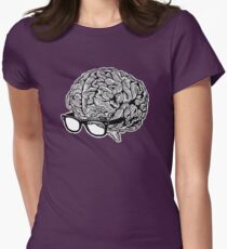 Brain with Glasses Womens Fitted T-Shirt