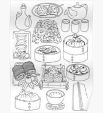 Sunday Dim Sum Lunch - Black and White Poster