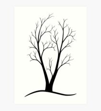 A Two-trunked Tree Art Print