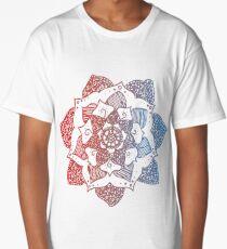 Red/Blue Gradient Mandala Long T-Shirt