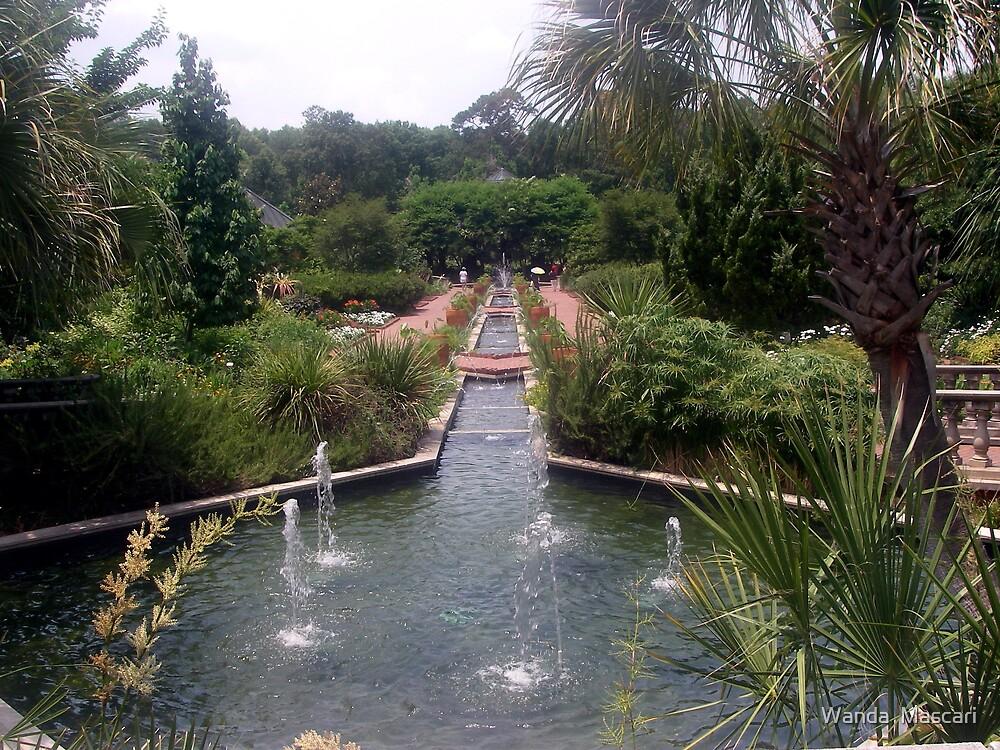 Garden and Fountain by Wanda  Mascari