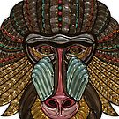 Colorful Baboon Mask Mosaic by pjwuebker