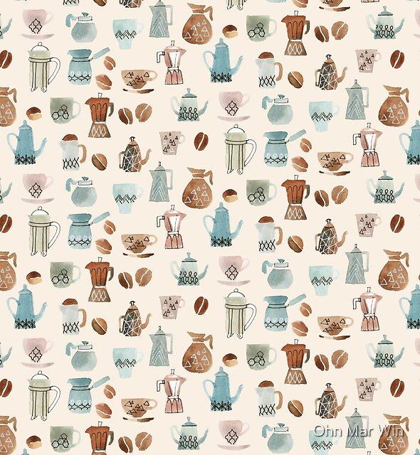 Coffee inspired pattern in pen and watercolour by Ohn Mar Win