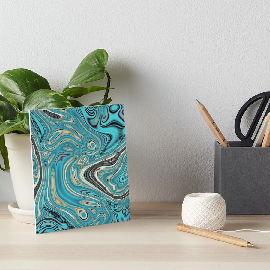 abstrakter Strandmarmormuster aquamariner Türkis wirbelt Galeriedruck