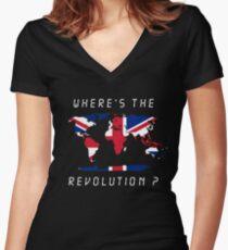 Wheres the revolution Britain Women's Fitted V-Neck T-Shirt
