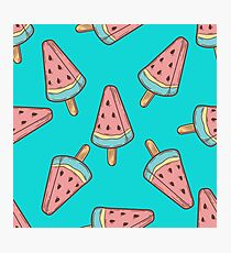 Ice cream, watermelon popsicle dessert food vector seamless pattern. ice milk gelato, frozen yogurt sweet Photographic Print