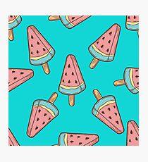 Ice cream, watermelon popsicle dessert food vector seamless pattern. ice milk gelato, frozen yogurt sweet Photographic Print