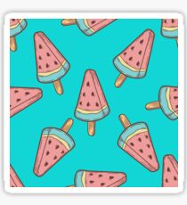 Ice cream, watermelon popsicle dessert food vector seamless pattern. ice milk gelato, frozen yogurt sweet Sticker