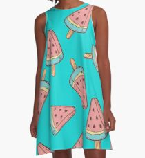 Ice cream, watermelon popsicle dessert food vector seamless pattern. ice milk gelato, frozen yogurt sweet A-Line Dress