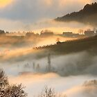 A sea of fog in the hills of styria by Delfino
