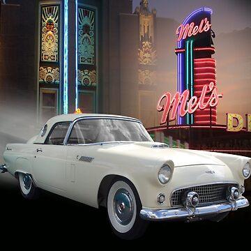 White Thunderbird Classic car 50's by Irisangel