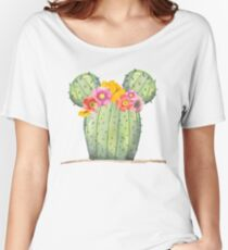 Mouse Cactus with Floral Crown Women's Relaxed Fit T-Shirt