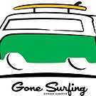 Green Bus Mini Van Gone Surfing by Frank Schuster