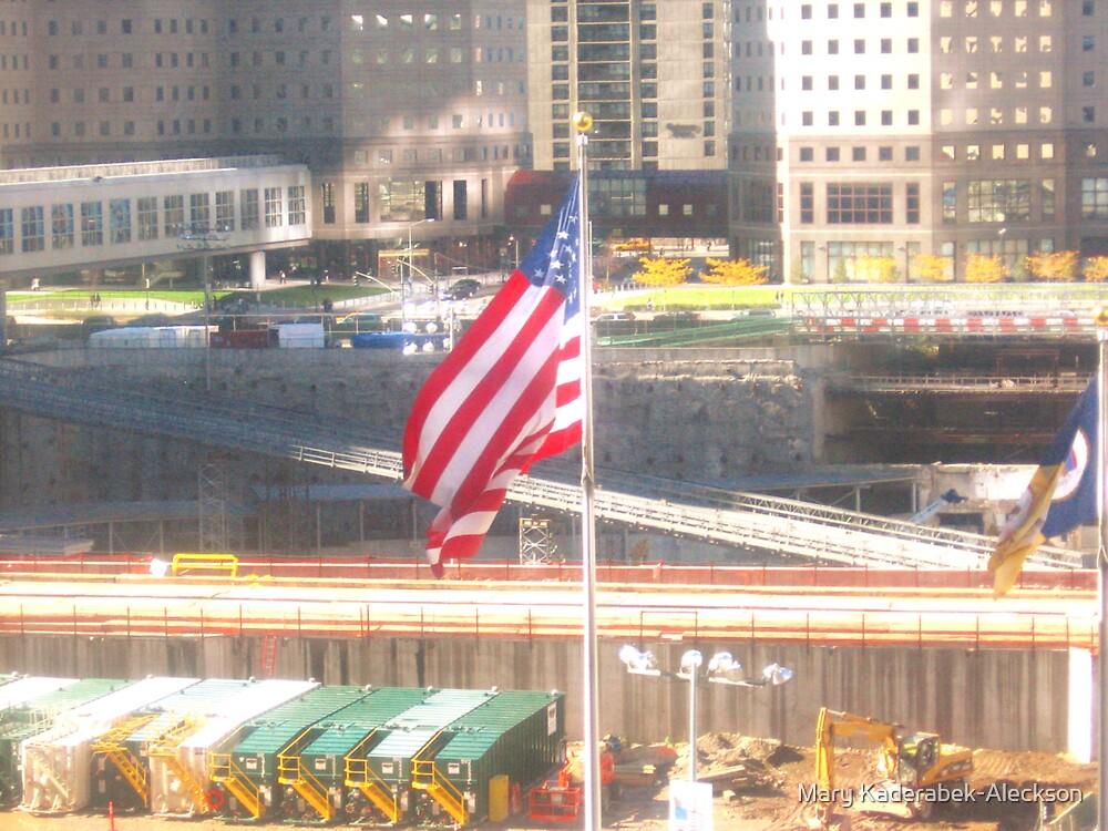 911-Flag at Ground Zero by Mary Kaderabek-Aleckson