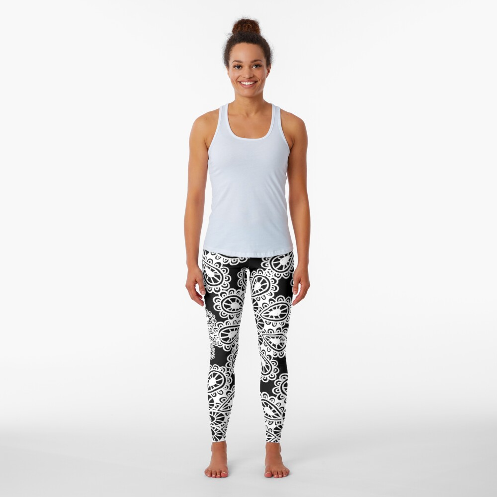 black and white Mandala Leggings