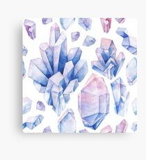 Watercolor pastel colored crystals Canvas Print