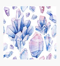 Watercolor pastel colored crystals Photographic Print